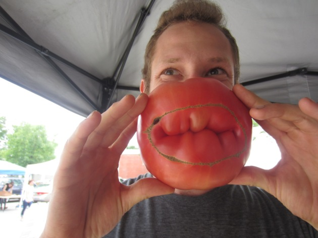 Tomatoes are just coming on up here in the North. Sean selected this luscious beauty at the market.