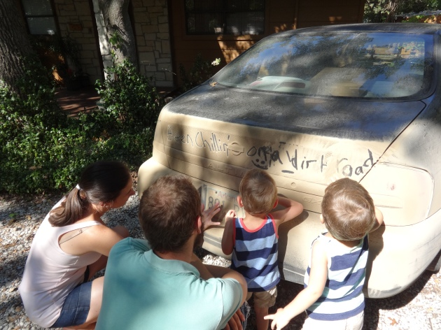 Sean taught his nephews some porcine wisdom about the joy of getting dirty