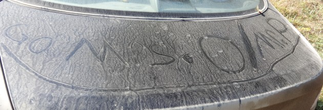 When we left the school at 12:30 am, we found this dirt-graffiti on our ride.