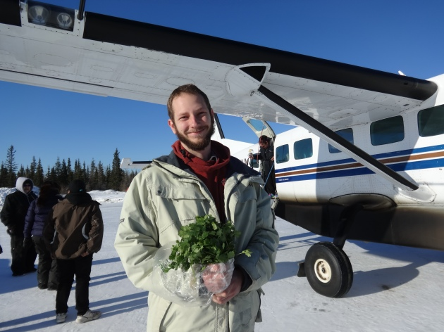 With cilantro bouquet in hand