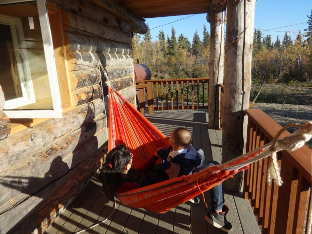 A and little H enjoyed the hammock experience until every kid in the village showed up, and they had to retreat indoors to guard their share of the cookies.