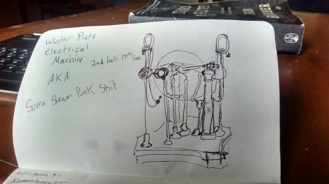 My sketch of the Winter Plate Electrical Machine, AKA some Steam Punk Shit.